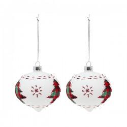 Vianočné banky sklenené - biele špicaté so stromčekom - 8 cm - 2 ks