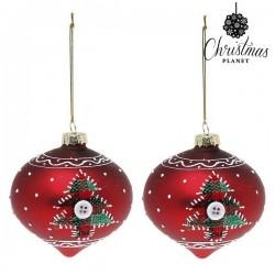 Vianočné banky sklenené - červené špicaté so stromčekom - 8 cm - 2 ks