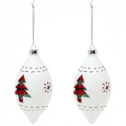 Vianočné banky sklenené - biele - 13 cm - 2 ks