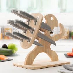 Súprava nožov s dreveným podstavcom Spartan - 7 ks - InnovaGoods