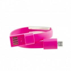 Náramok s micro USB káblom - 23 cm - ružový
