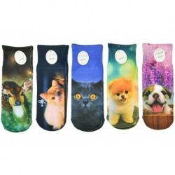 Detské ponožky s celopotlačou zvieratiek - mix motívov - 5 párov - Auravia