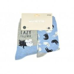 Dámske ponožky - mačky a myši - mix motívov - 2 páry - Auravia