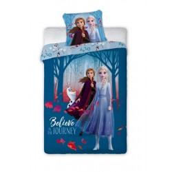 Bavlnené obliečky Ľadové Kráľovstvo 2 - sestry - modré 140 x 200 cm