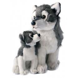 Plyšový vlk s mláďaťom - sediaci - 27 cm - Rappa