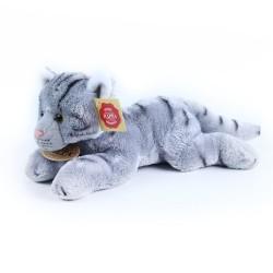 Plyšová ležiaca mačka - sivá - 18 cm - Rappa