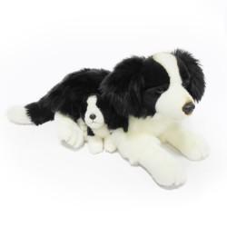Plyšový psík - Border kólia so šteňaťom - 45 cm - Rappa