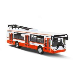 Kovový trolejbus na spätný chod - 16 cm - červený - Rappa