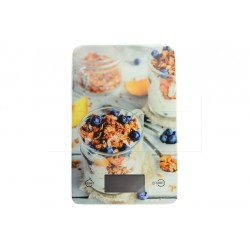 Sklenená kuchynská digitálna váha do 5 kg - 22 x 16 cm - cereálie - EH