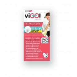 Jednorazové latexové rukavice - pudrované - nesterilné - biele - 100 ks - Vigo