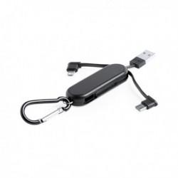 Kľúčenka - USB kábel s dvoma konektormi - čierna