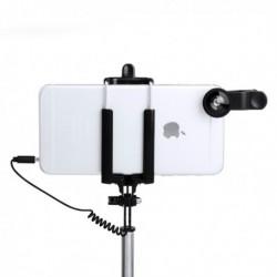 Súprava selfie tyče s prídavnými šošovkami - 5 ks - 144940 - čierna