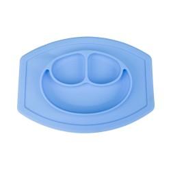 Silikónová podložka a tanier pre deti - modrá