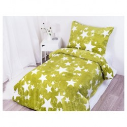 Mikroflanelové obliečky - Hviezdy - zelené - 140 x 200 - Aaryans