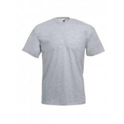 Pánske bavlnené tričko - svetlosivé - žíhané - Fruit of the Loom