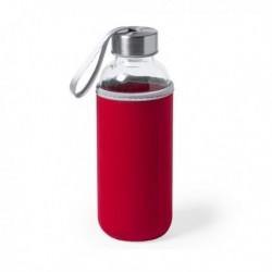Sklenená fľaša s neoprénovým puzdrom 145513 - 420 ml - červená