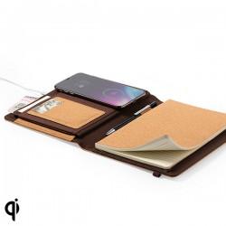 Poznámkový blok s bezdrôtovou Qi nabíjačkou - korkový