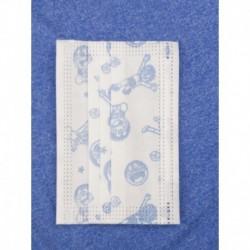 Jednorazové detské hygienické rúško - biele s modrými obrázkami - 10 ks