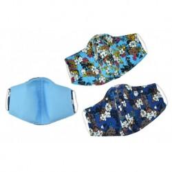 Textilné rúško na viac použití s kvetinami - odtiene modrej - 1 ks