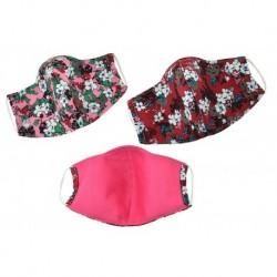 Textilné rúško na viac použití s kvetinami - odtiene červenej - 1 ks