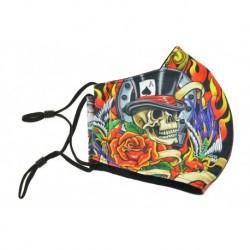 Textilné rúško na viac použití - Lebka s klobúkom a smrtkou