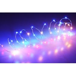 Farebné LED svetielka na batérie - 105 cm - 20 diód - s časovačom