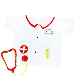 Detský zdravotnícky kostým - s umelou striekačkou a stetoskopom - Rappa