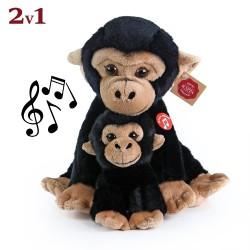 Plyšová opica s mláďaťom - so zvukom - 27 cm - Rappa