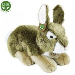 Plyšový ležiaci zajac - sivý - 25 cm - Rappa