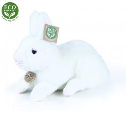 Plyšový ležiaci zajac - biely - 23 cm - Rappa