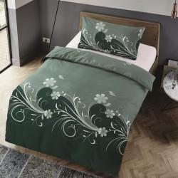 Microtop obliečky - kvetinové vlny - jedľová zeleň - 140 x 200 cm