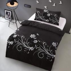 Microtop obliečky - kvetinové vlny - čierne - 140 x 200 cm
