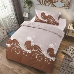 Microtop obliečky - kvetinové vlny - hnedo-sivé - 140 x 200 cm