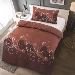 Microtop obliečky - kvetinové vlny - hnedo-hrdzavá - 140 x 200 cm