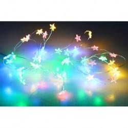 Farebné LED hviezdičky na batérie - 105 cm - 20 LED diód