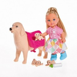 Bábika Evička s psíkom a šteniatkami - Simba