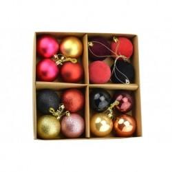 Súprava vianočných guliek - zlaté a fialové - 60 mm - 16 ks