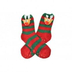 Teplé ponožky s protišmykovou podrážkou - Sobík - zeleno-červené - veľkosť 38-39