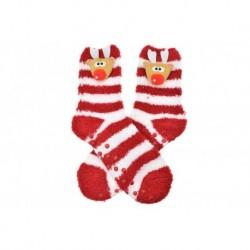 Teplé ponožky s protišmykovou podrážkou - Sobík - bielo-červené - veľkosť 38-39