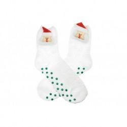 Teplé ponožky s protišmykovou podrážkou - Santa - biele - veľkosť 38-39