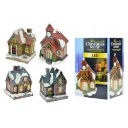 Vianočný domček s LED svetielkami - 10 cm - 1 ks