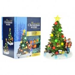 Ručne maľovaný vianočný stromček s LED svetielkami - 18 cm