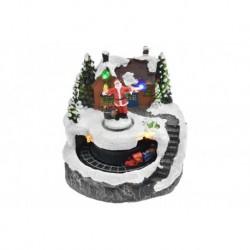 Vianočná dekorácia - Santa pred domom a pohyblivý vláčik - svietiaca - 13 cm