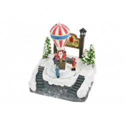 Vianočná dekorácia - svietiaci a pohyblivý vianočný teplovzdušný balón so Santom - 18 cm