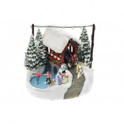 Vianočná dekorácia - koč a klzisko - svietiace - 17 cm