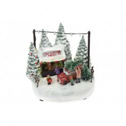 Vianočná dekorácia - predaj stromčekov - svietiaca - 17 cm