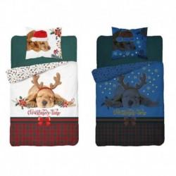 Vianočné bavlnené obliečky - svietiaci psík - Detexpol