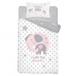 Bavlnené obliečky do postieľky - Slon Love - ružové - 100 x 135 - Detexpol