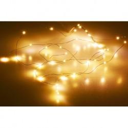 Mikro LED pásik na batérie - 53 cm - 36 diód - teplá biela - číry kábel