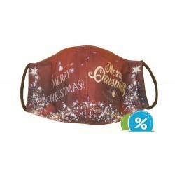 Textilné rúško s vianočným motívom - červené